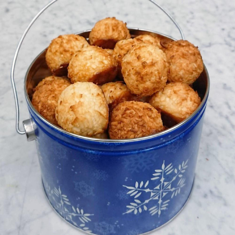 Decorative Holiday Tins Filled with Coconut Macaroons