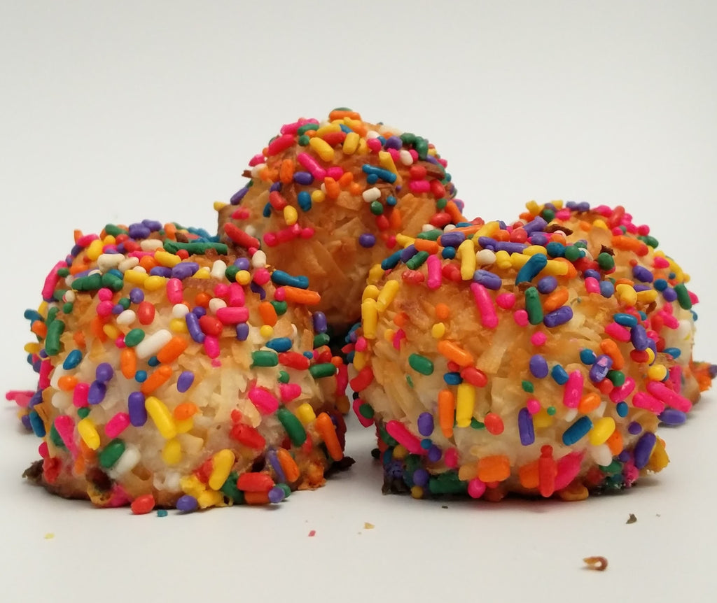 rainbow sprinkle coconut macaroons for birthdays and celebrations, gluten free