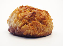 picture of a super delicious peanut butter and jelly coconut macaroon. imagine something awesome and edible and then imagine eating it.