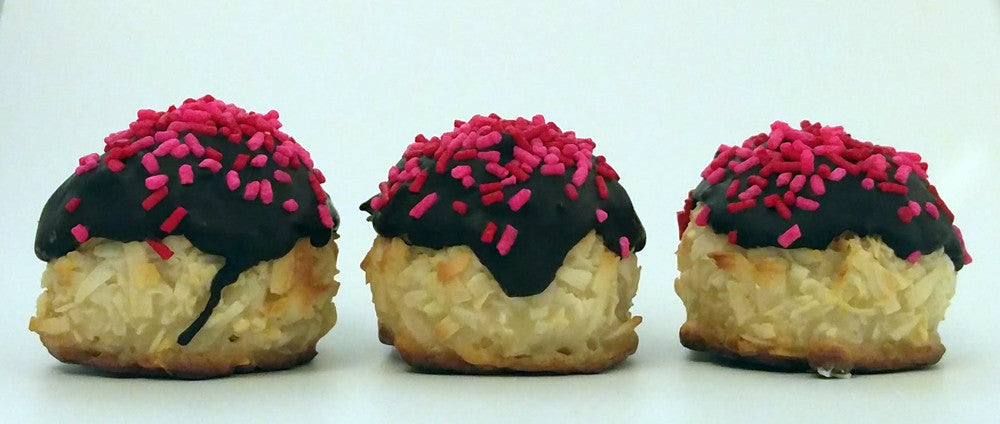 Chocolate Dipped Coconut Macaroons for Valentine's Day