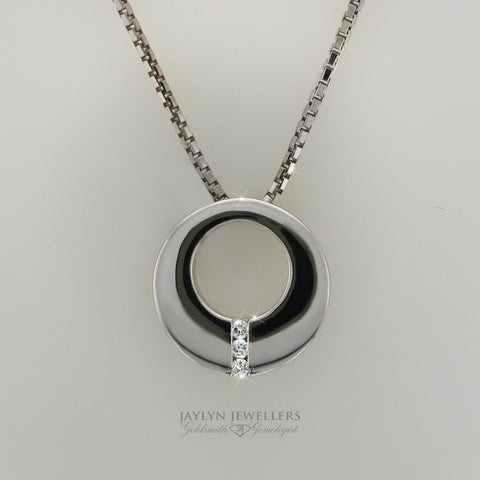 14K Modern Circle Slider Diamond Pendant by JayLyn Jewellers. $562.50