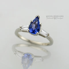 14K Pear-Cut Tanzanite and Diamond Ring by Jaylyn Jewellers.  $1,595.00