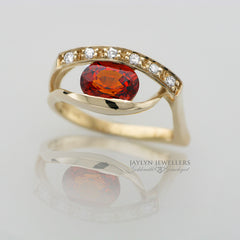 14K Modern Freeform Garnet and Diamond Ring by JayLyn Jewellers. $750.00