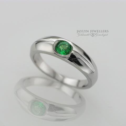 14K Smooth Groove Contemporary Emerald Ring by JayLyn Jewellers. $489.99
