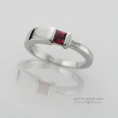 14K Modern Contemporary Princess-cut Rhodolite Garnet Ring by JayLyn Jewellers. $234.99