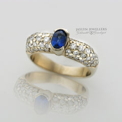 14K Broad Shoulder Sapphire and Diamond Dinner Ring by JayLyn Jewellers. $3774.00