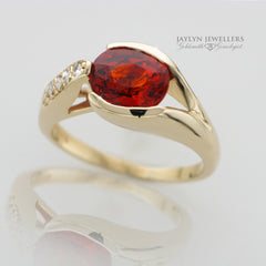 14K Modern Freeform Garnet and Diamond Ring 2 by JayLyn Jewellers. $585.00