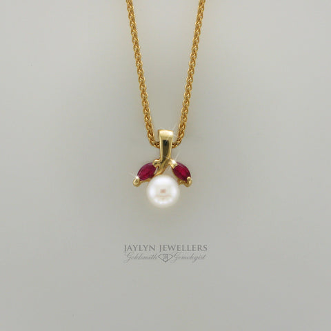 14K Organic Ruby and Pearl Drop Pendant by JayLyn Jewellers. $149.00