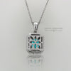 18K White Gold Blue Zircon and Diamond Vintage-Style Pendant