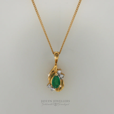 14K Pear-Cut Emerald and Diamond Drop Pendant by JayLyn Jewellers. $495.25