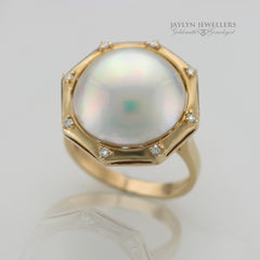 14K Vintage Inspired Mabe 14K Vintage Inspired Mabe Pearl and Diamond Ring by JayLyn Jewellers. $975.00