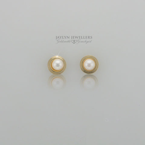 14K yellow gold wrapped cultured pearl stud earrings