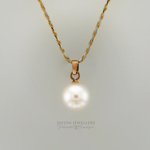 14K 8.8mm Freshwater Pearl Drop Pendant by JayLyn Jewellers. $138.00