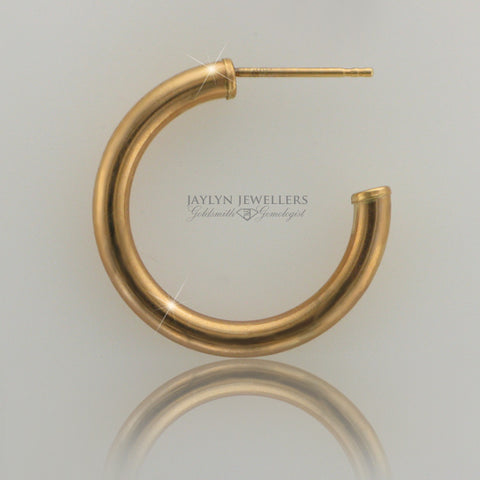 14K yellow gold contemporary hoop earrings- medium