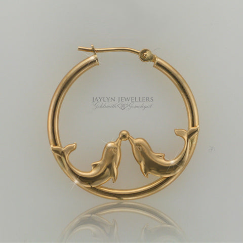 14K yellow gold dolphin hoop earrings- large
