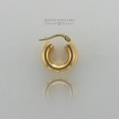 14K yellow gold double-finish hoop earrings- small