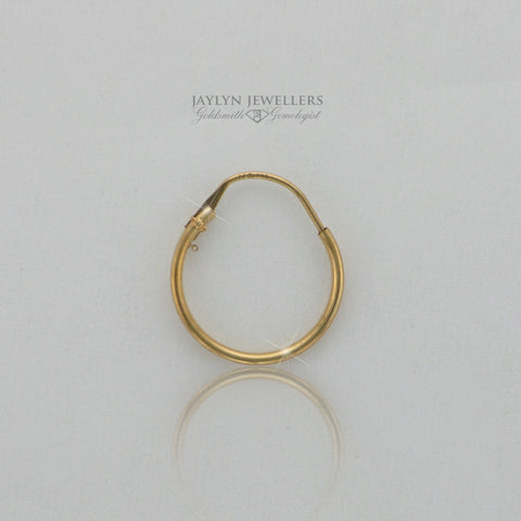 14K yellow gold thin contemporary hoop earrings- small