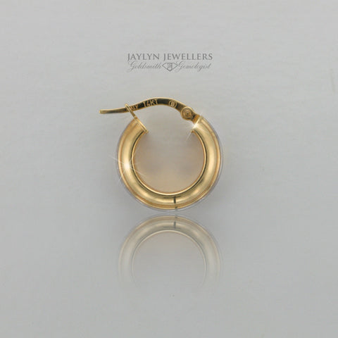14K two-tone gold contemporary hoop earrings- medium