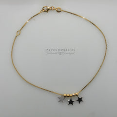 14K stars and beads anklet