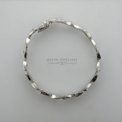 14K white gold brushed and polished specialty link bracelet