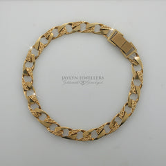 10K unisex double-finish curb link bracelet