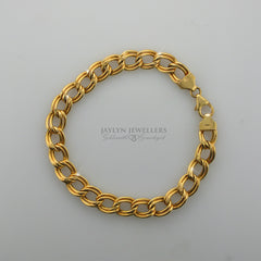 14K fancy double curb link bracelet
