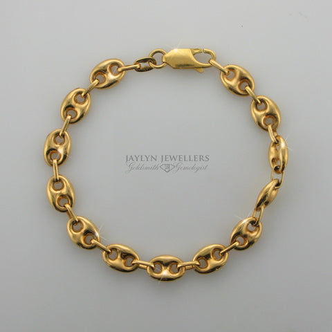 14K large rounded anchor link bracelet