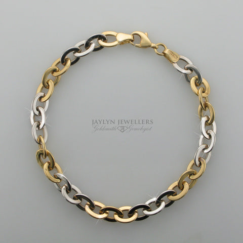 14K two-tone large cable link bracelet