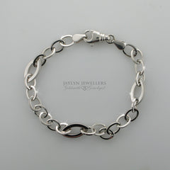 14K white gold cable link bracelet