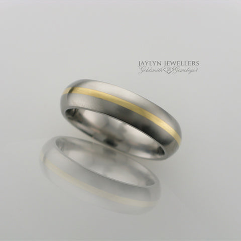 Men's 6mm Brushed Titanium and 18K Gold Band by JayLyn Jewellers. $437.00