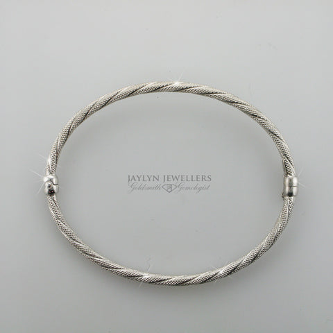 18K White Gold Florentine Bangle