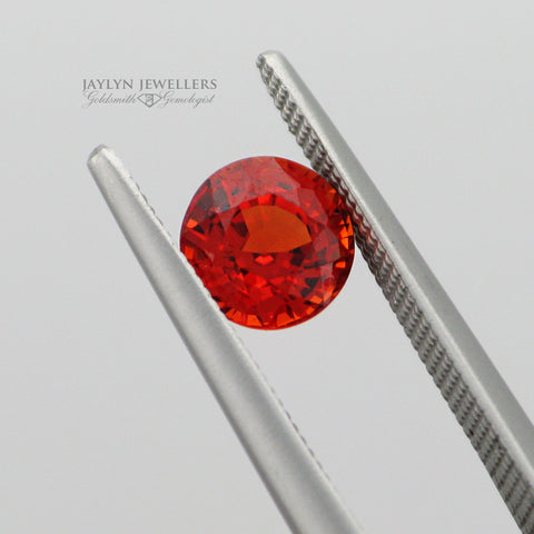 1.17 Carat Rare Round Cut Orange Sapphire- Outstanding Quality