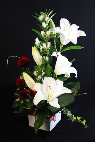 Lily arrangement with roses - Mangere Floral Studio