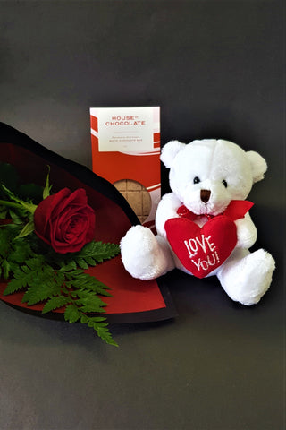 Valentine's Special - Rose, Teddy & Chocolates - Mangere Floral Studio