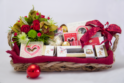 Christmas Gift Tray with Flowers