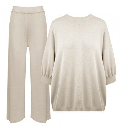 homewear loungewear set strick viskose braun haselnuss cozy leggins sweater  khaki
