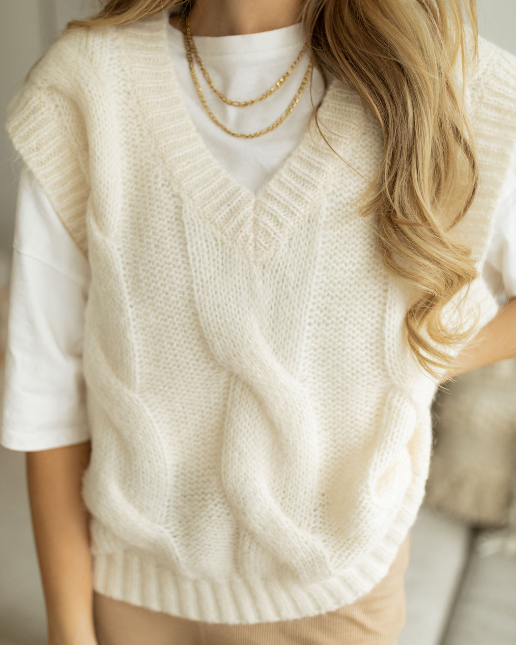Pollunder Strick creme style fashion mode cardigan pullover