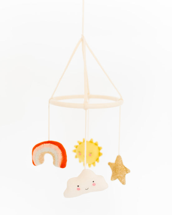 Mobile happy weather Regenbogen Sonne Stern Wolke Newborn Kidsinterior Kidsaccessoires