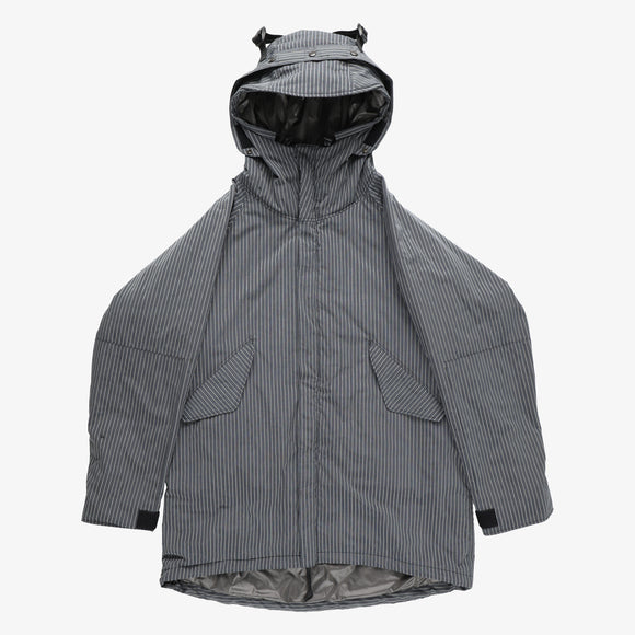 CORONA x Post O'Alls G-1 Parka DS / dobby stripe with Thinsulate silver
