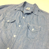 #1231N New Light Shirt / cotton linen feather chambray / M, XL size