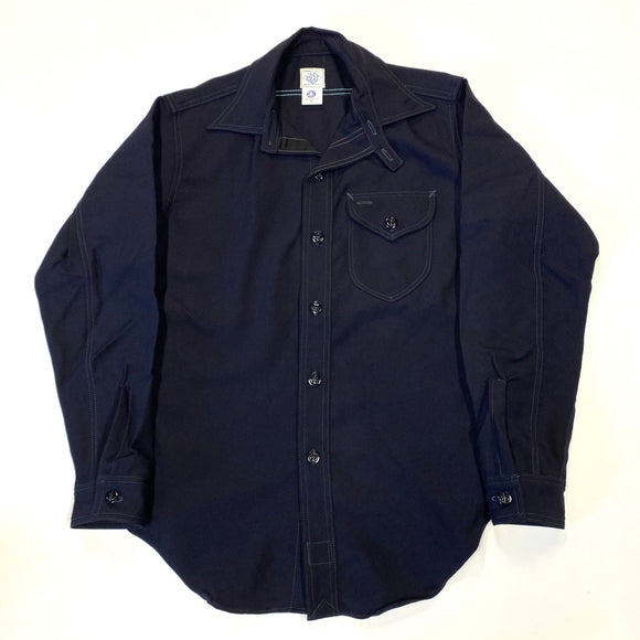 #1249 C-POST 6 / wool serge  / navy / S size