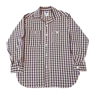 #1206 No.6 Shirt / mid weight cotton plaid / red / S,M size