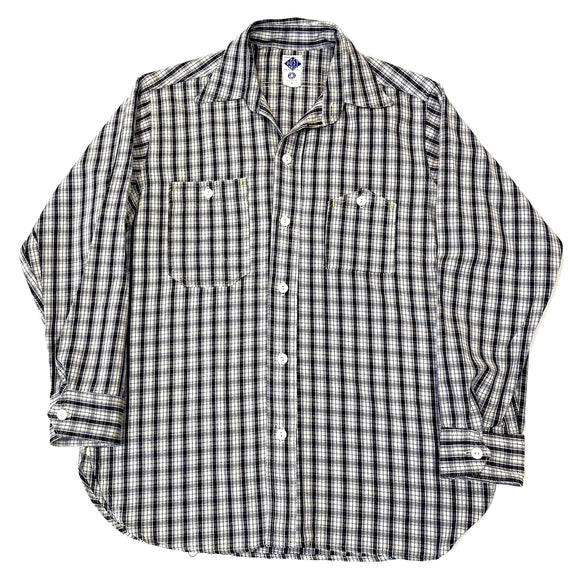 #1206 No.6 Shirt / mid weight cotton plaid / blue / S size