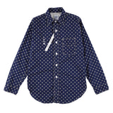 x Mountain research 動物刺繍 shirt  / navy calico