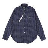 x Mountain Research 動物刺繍 shirt  / navy x white check