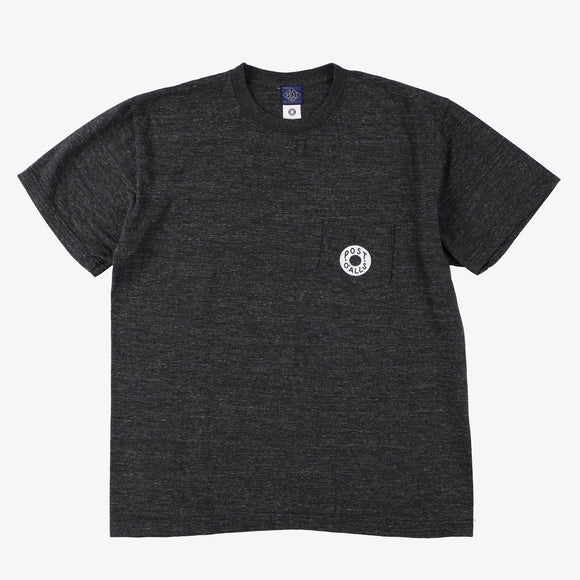 #3003 Donut pocket Tee 3 / cotton jersey black heather x white