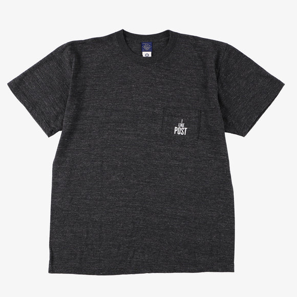 #3004 I LIKE POST pocket Tee 3 / cotton jersey black heather x white