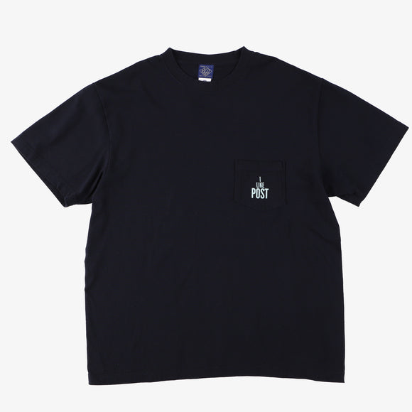 #3004 I LIKE POST pocket Tee 2 / cotton jersey navy x pale green