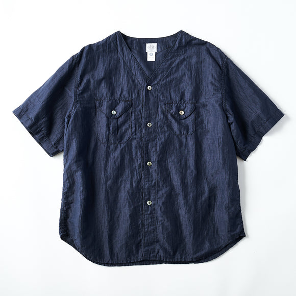 #2219S C-POST DV2 S/S CL2 / crinkle linen/cotton navy