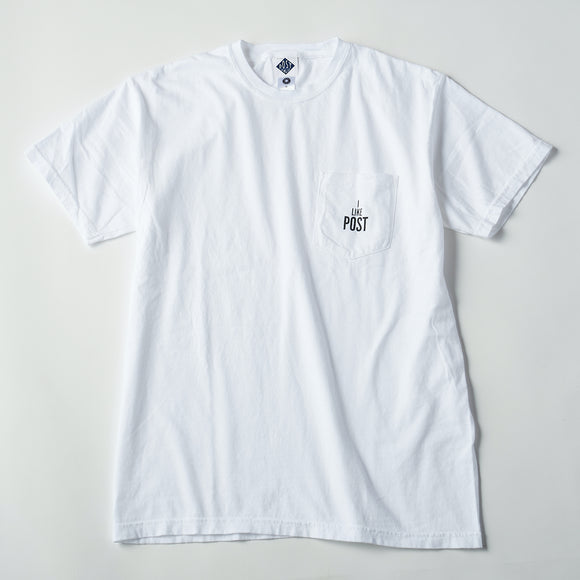 #3004 I like post pocket tee A1 / pigment dyed cotton jersey white x grey